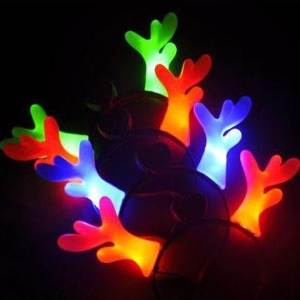 PS Mall 聖誕節裝飾道具 發光鹿角頭飾髮箍 節日慶典演唱會飾品【J2024】
