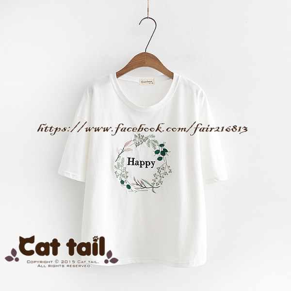 《貓尾巴》TS-0623小清新花朵字母刺繡短袖上衣(森林系日系棉麻文青清新)