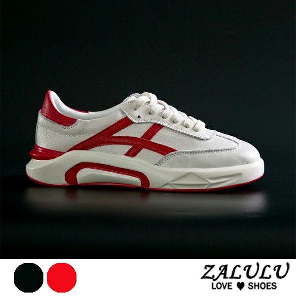 ZALULU愛鞋館7DE012預購韓妞熱愛款綁帶休閒流線布鞋-偏小-紅黑-36-39