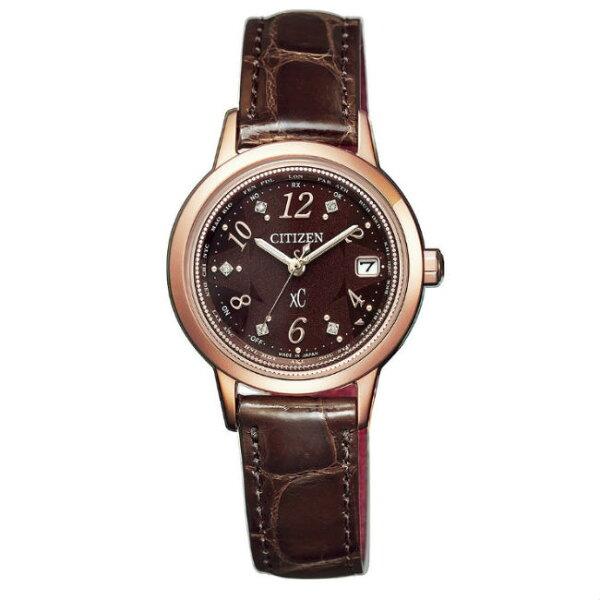 CITIZEN星辰錶EC1147-01X限量真鑽電波萬年曆女錶咖啡色系28mm