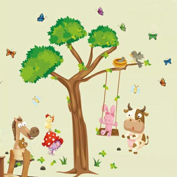 BO雜貨【YV3495-1】新款壁貼無痕創意壁貼居家裝飾樹秋千牛動物秋千ABC1006AB