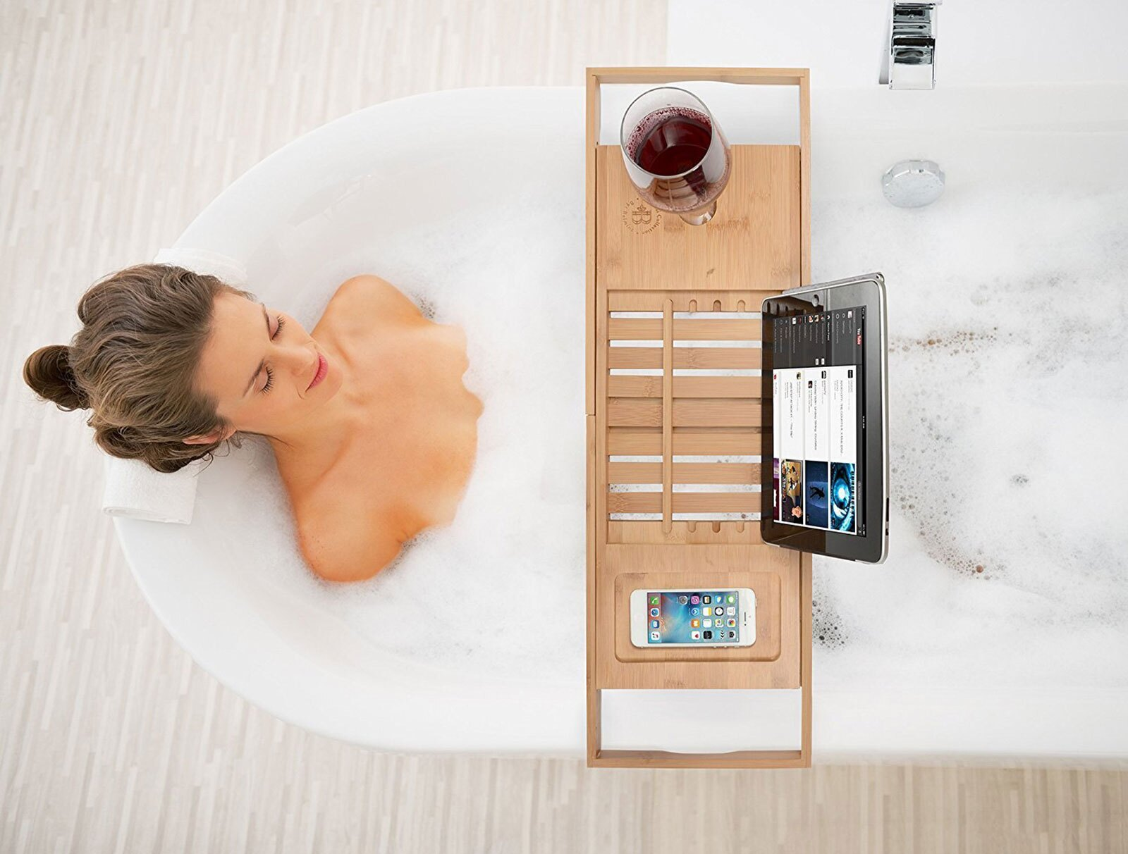 Belmint | Rakuten: Bambusi Bamboo Bathtub Caddy Tray w Extending ...