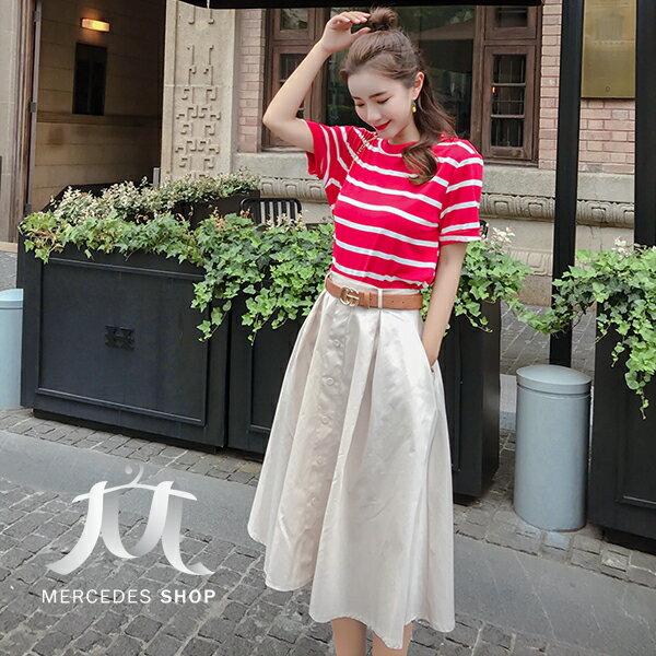 《全店75折》韓國條紋棉T恤+高腰單排扣A字裙兩件套(S-XL)-梅西蒂絲(現貨+預購)