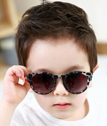 Kocotree◆潮流 豹點純色金屬鏡架兒童防紫外線護目太陽眼鏡~灰色豹紋