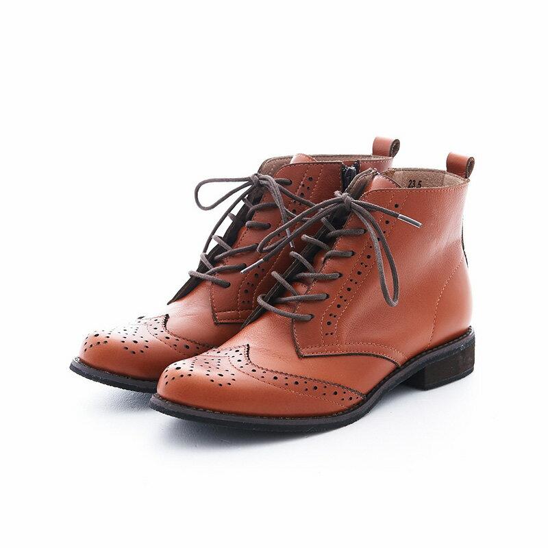 【B2-16819L】真皮綁帶牛津短筒靴_Shoes Party 6
