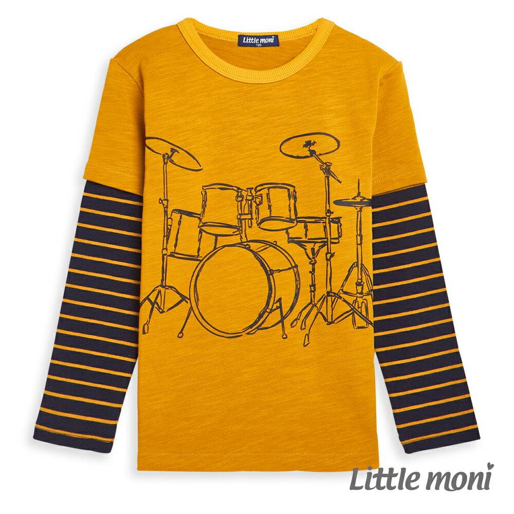 Little moni 酷玩音樂拼接上衣-芥黃(好窩生活節) - 限時優惠好康折扣
