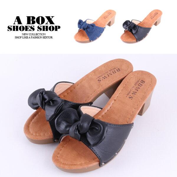 【AN8539-1】6CM跟鞋百搭一字素面蝴蝶結粗跟穆勒鞋2色