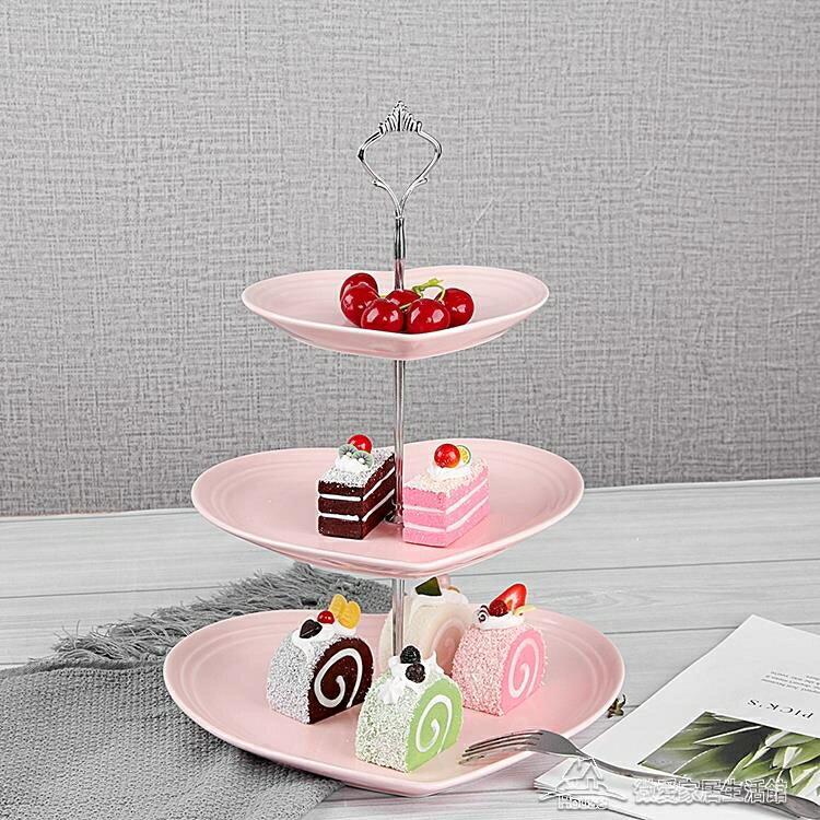 歐式陶瓷三層水果盤甜品臺多層蛋糕架乾果盤茶點心生日托盤  概念3C