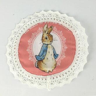 AnniesFriends 比得兔 Peter Rabbit 粉紅玫瑰小圓墊 多用墊 防潑水 小桌墊 家飾 蕾絲