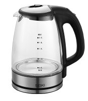 Seiki Glass 2.0L Stainless Steel Finish Electric Kettle