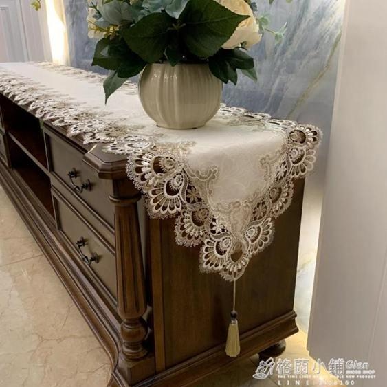 茶幾電視櫃桌布桌旗布藝蕾絲歐式套裝美式梳妝台美甲長條防塵蓋布全館促銷限時折扣