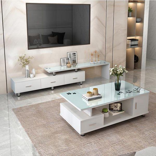 電視櫃 電視櫃茶幾組合套裝客廳玻璃伸縮臥室簡易電視機櫃現代簡約小戶型全館促銷限時折扣