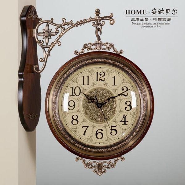 時鐘美式實木金屬雙面掛鐘靜音歐式客廳兩面掛表創意時鐘復古鐘表大號全館促銷限時折扣