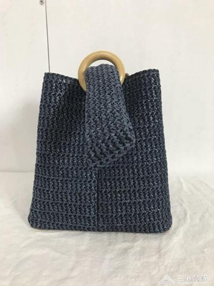 韓國包包圓環扣可愛編織籃子手拎包小方包草編包全館促銷限時折扣
