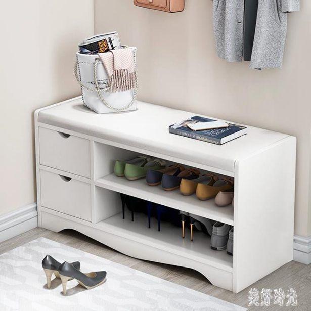 換鞋凳家用進門口鞋架儲物凳收納櫃可坐鞋櫃仿實木簡約入門穿鞋凳 FF5205全館特惠限時促銷