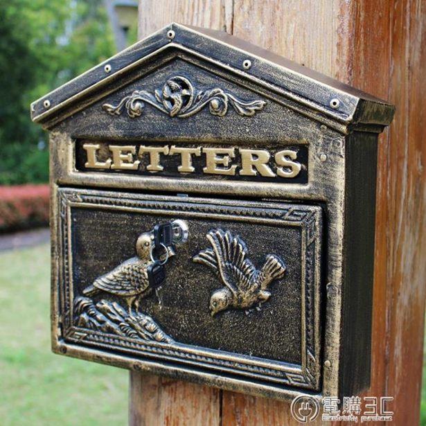 歐式別墅帶鎖信箱室外庭院信報箱掛墻郵筒意見箱創意郵筒復古郵箱全館特惠限時促銷