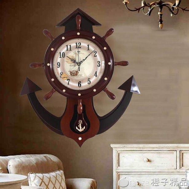 地中海靜音掛鐘客廳個性創意時尚北歐鐘表現代簡約大氣家用石英鐘全館促銷限時折扣