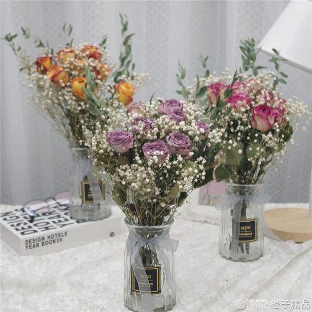 真玫瑰干花束滿天星永生花辦公室房間裝飾擺件家居飾品民宿客棧花全館促銷限時折扣