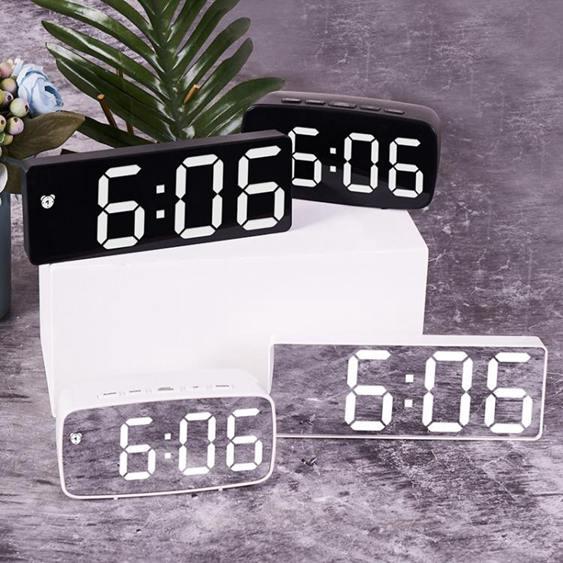 創意鏡面電子鐘多功能LED鐘表化妝鏡鬧鐘插電兩用鬧鐘