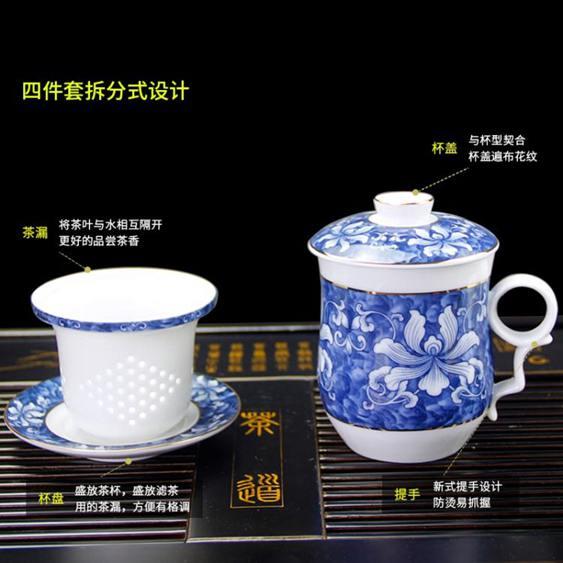 景德鎮陶瓷茶杯子過濾杯帶蓋泡茶辦公室會議茶具大水杯家用青花瓷