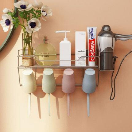 牙刷漱口杯置物架套裝家用 衛生間浴室壁掛式簡約304不銹鋼免打孔YS1【全館免運 限時鉅惠】