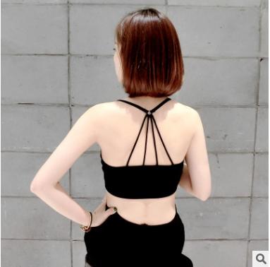 美麗大街【C32】莫代爾美背吊帶裹胸運動小背心短款