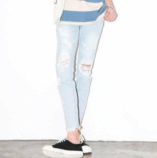 FINDSENSEZ1韓國時尚潮男基本款淺藍色破洞磨破水洗磨白磨邊小腳褲九分褲牛仔褲
