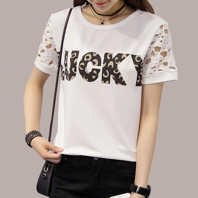 韓版--優雅氣質空花蕾絲短袖個性豹紋LUCKY印圖圓領上衣(白.黑L-3L)-T287眼圈熊中大尺碼 0