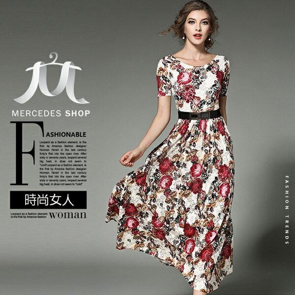 《全店75折》歐美中大尺碼蕾絲印花長裙連衣裙短袖長洋裝(S-2XL,2色)-梅西蒂絲(現貨+預購)