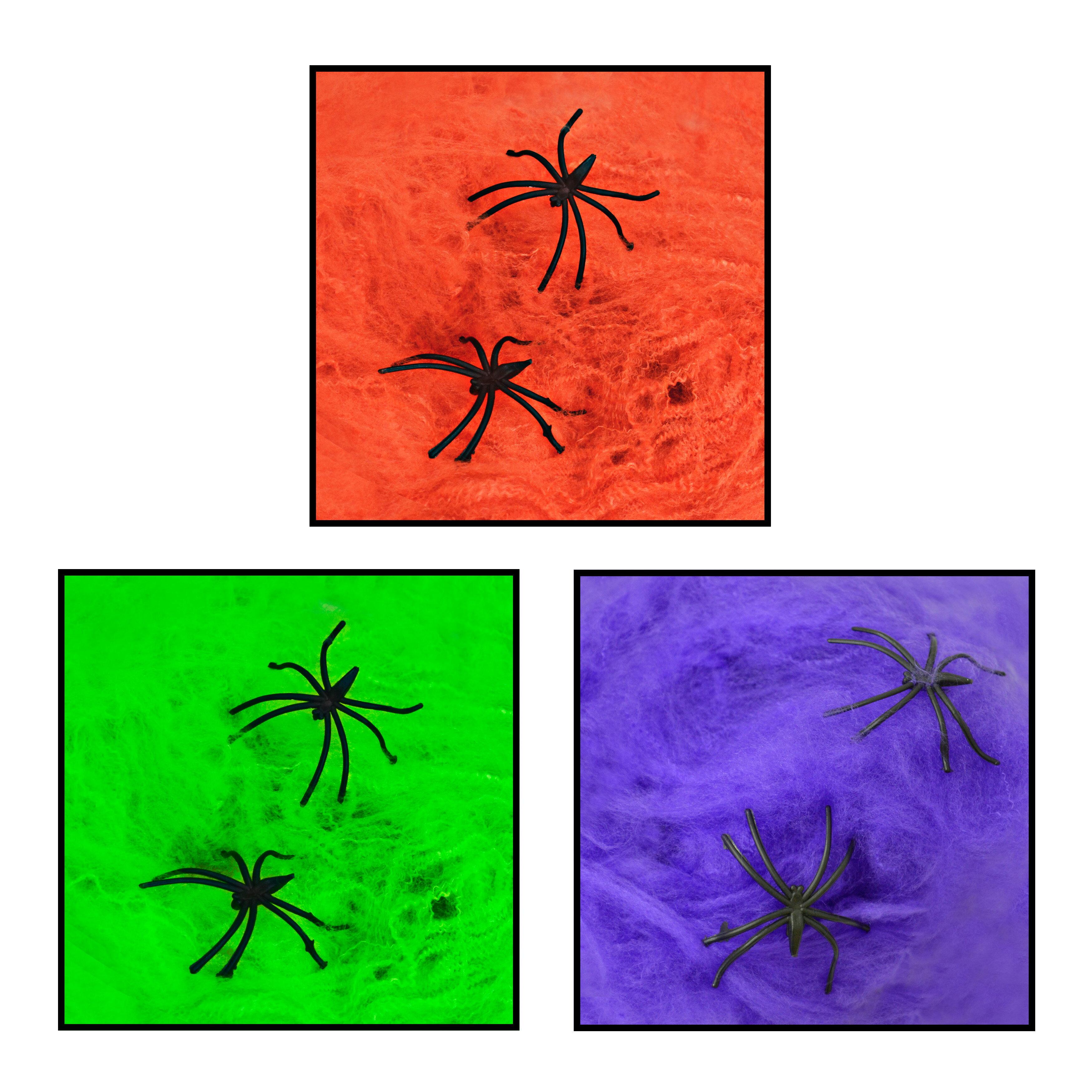 X射線【W278927】20克彩色蜘蛛網加蜘蛛(綠.紫.橘三色),萬聖節/佈置/掛飾/擺飾/蜘蛛/派對/角色扮演/化妝舞會/表演/話劇