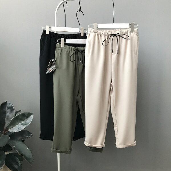 休閒九分褲繫帶哈倫褲樂天時尚館。預購。[全店免運]