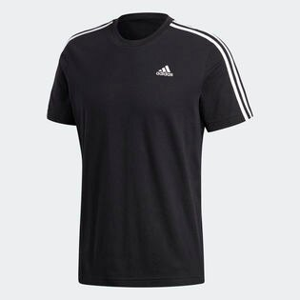 ADIDASESSENTIALS3-STRIPES男裝上衣短袖訓練慢跑休閒黑【運動世界】S98717