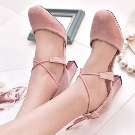 高跟鞋 甜美性感綁帶圓頭粗高跟鞋【S1574】☆雙兒網☆ 3