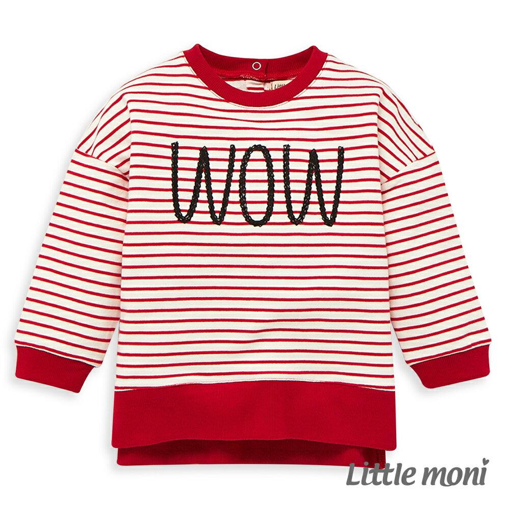 Little moni 圓領寬鬆條紋刺繡上衣 -紅色(好窩生活節) 0