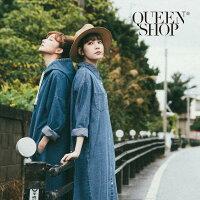 牛仔/丹寧服飾到Queen Shop【01022953】雙口袋造型牛仔長版襯衫*預購*