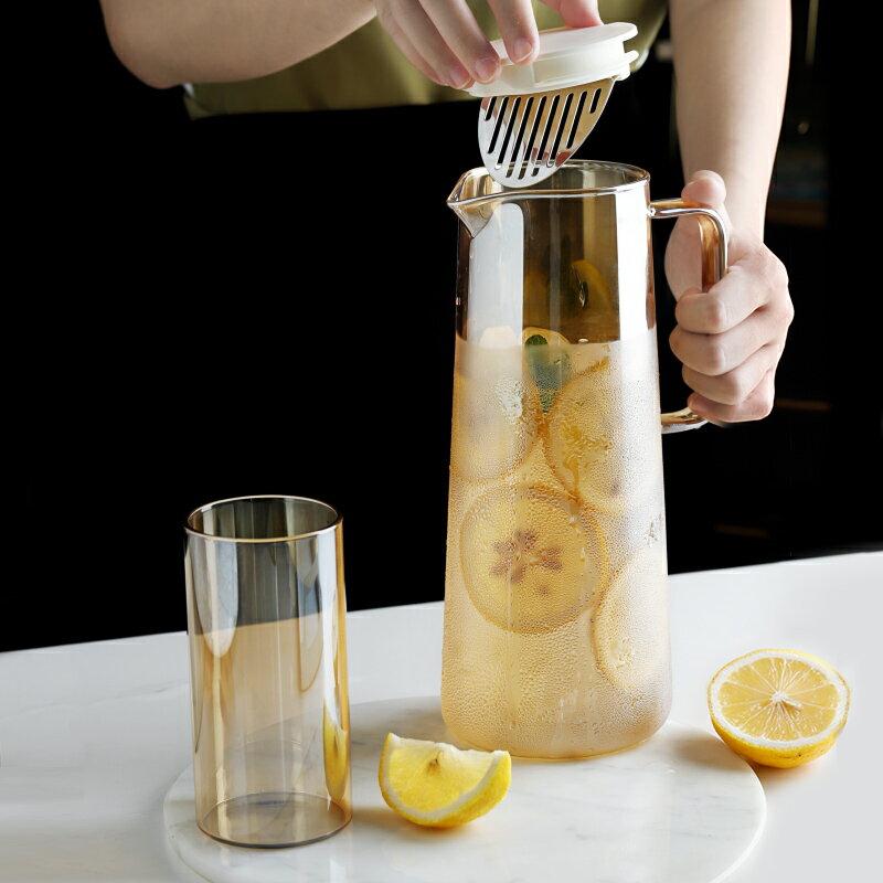 北歐創意冷水壺耐高溫透明玻璃泡茶壺高顏值涼水杯套裝
