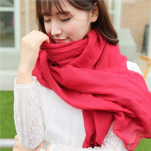《全店399免運》PS Mall 秋冬款純色棉質圍巾絲巾【G1822】
