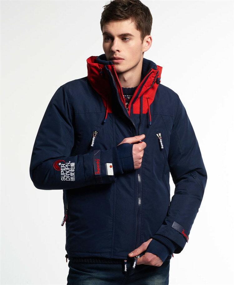 [男款]英國代購 極度乾燥 Superdry Snow Rider 立領 刷毛 防寒防風水滑雪衣系列 風衣雪地騎士 深藍/紅色 2