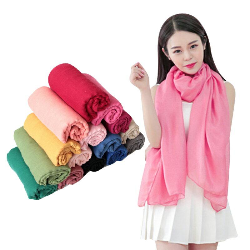 棉麻超大圍巾 現貨 披肩  百搭純色素面款 台灣出貨  Rainnie