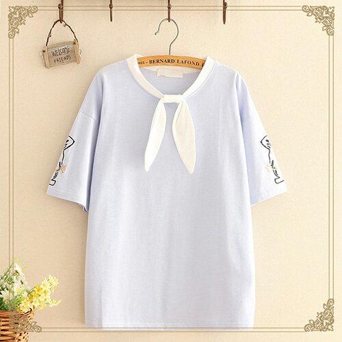 圓領刺繡兔子綁帶蝴蝶結T恤(3色F碼)【OREAD】 0