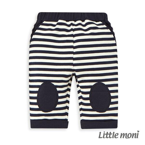 Littlemoni條紋貼布五分褲-深藍