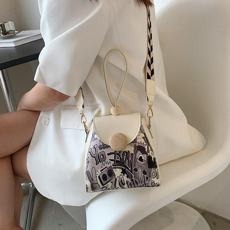 女包新款2021夏季網紅塗鴉小方包斜挎小包包時尚流行單肩包