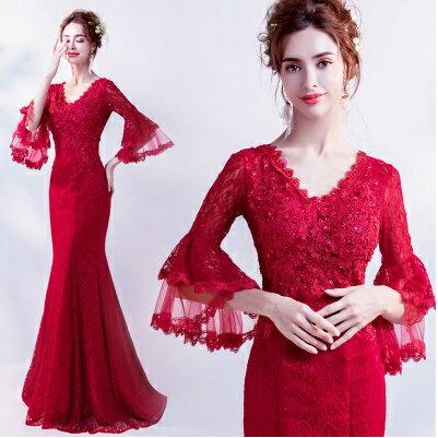 天使嫁衣【AE227】紅色V領寬口中袖魚尾包臀高雅長禮服˙預購訂製款