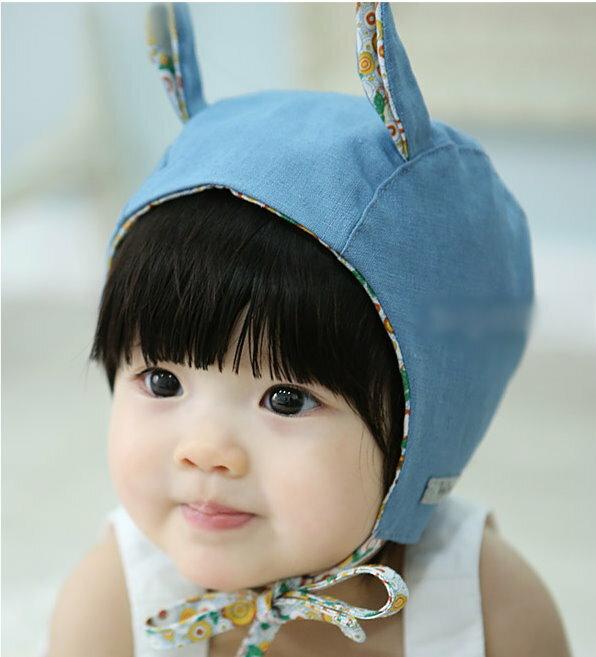 春秋薄款女寶寶繫帶純棉護耳帽防風帽公主帽0~1歲