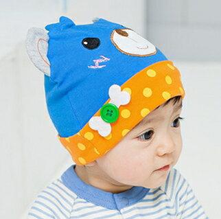 Lemonkid◆春秋可愛波點拚色動物 兒童套頭帽~藍色