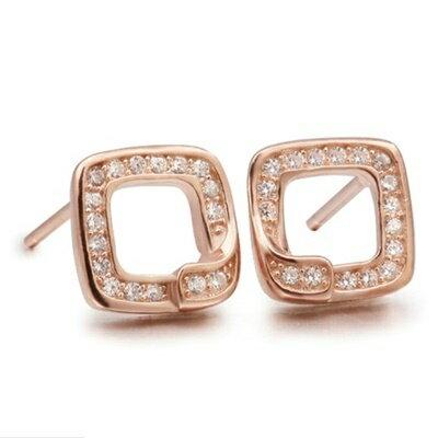925純銀耳環鑲鑽耳飾~ 精美方形生日情人節 女飾品2色73dm15~ ~~米蘭 ~