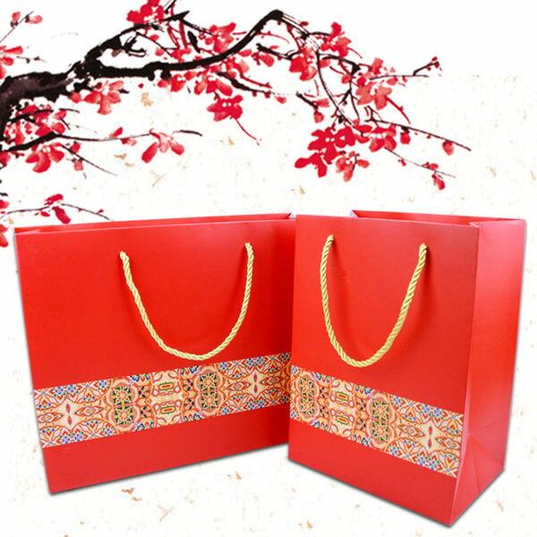 過年過節喜慶喜氣大紅鑲邊禮品袋【庫奇小舖】2款