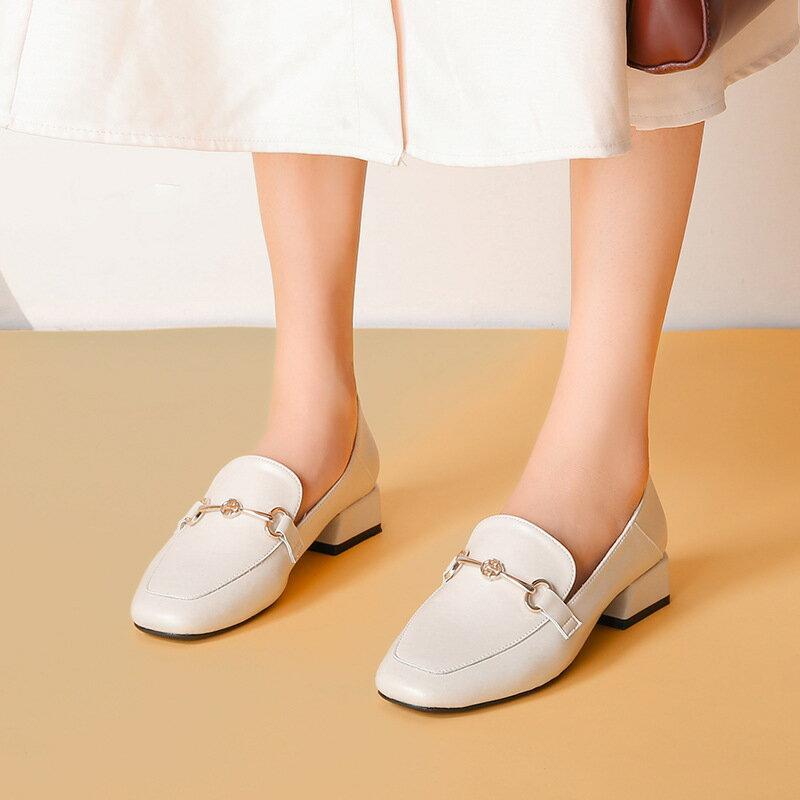 小皮鞋女英倫2021新款馬銜扣高跟鞋休閒單鞋粗跟百搭大碼女鞋