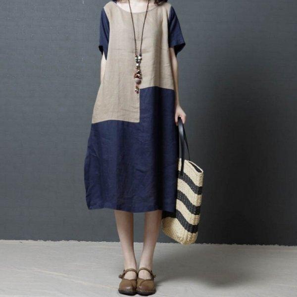 *漂亮小媽咪*執著簡約短袖超薄撞色棉麻中大尺碼連身裙寬鬆文藝孕婦裝D8753