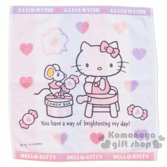 〔小禮堂〕Hello Kitty 方形毛巾《粉.條紋.坐姿.朋友.糖果盒.愛心滿版.34x36》